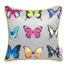 Butterfly Home by Matthew Williamson Turquoise butterfly printed cushion- at Debenhams.com