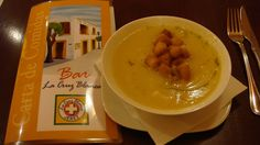 An amazing soup drizzled with truffle oil at La Cruz Blanca in Jerez, Spain (Joe Cruz photo). #eatspain