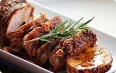 Add to your fall comfort food bucket list, looks so good!! Roast pork loin with bacon and brown sugar glaze...