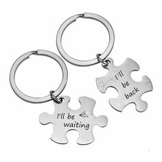 2pcs Stainless Steel Distance Missing You Puzzle Key Chain Couple Best Friends