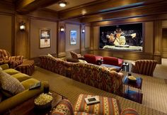 DIY Home Theater Rooms decorating | Home theater stadium seating with couches