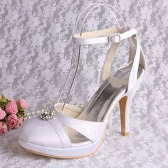 Women Wedding Shoes Ankle Wrap Platform Pumps Cut Out Satin Bridal Shoes  Shipping Free 17351ee712d1