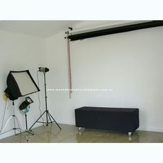 Studio lighting, backgrounds  and sitting bench in new photographic studio at Meander Studios. Melbourne. Auatralia.