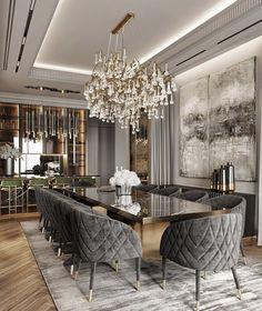 Luxury Homes Interior, Luxury Decor, Home Interior Design, Dinning Table Design, Dining Room Table Decor, Luxury Dining Room, Elegant Dining Room, Modern Kitchen Design, Villa