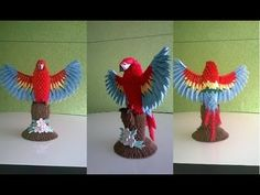 how to make red macaw origami 3d tutorial - YouTube