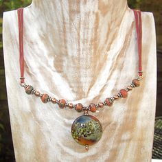 Lampwork Bead Necklace, beaded necklace,mixed metal necklace - ' TURNING LEAVES '