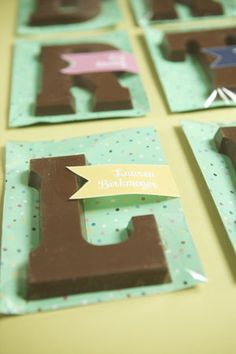 chocolate letter for place card or favor from chocolatevault.com