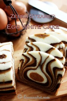 Zebra steamed cake... uses all egg white. Love the different colors... instead of just 2.