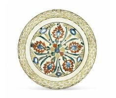A Kubachi pottery dish, North Iran, early 17th century