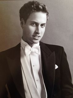 A 21 year old Prince William wearing white tie tailored by Gieves & Hawkes, photographed for the September 2003 cover of Vanity Fair by Mario Teśtino.