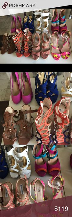 Lot - Size 8 Heels Various Styles and Colors 8 pair of size 8 Heels: Pink Forever 21 worn once Royal blue Mossimo open toe worn once White open toe Charlotte Russe NEVER worn Multi color wedge Liliana worn once Brown open toe Charlotte Russe he'll NEVER worn Orange and Purple Love Culture wedge heel gently used Peach and Tan Steve Madden wedge worn once Fuchsia and Yellow Charlotte Russe heel worn once  All of these heels are brand new or worn once. Great deal for so many shoes all size 8…