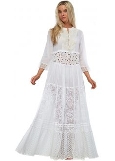 The Jetset Diaries North Of Fira Maxi Dress In White Cotton | The ...