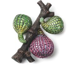 Hemmerle 'Fig' brooch – sapphires, demantoid garnets, gold, copper