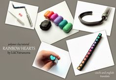 Tutorial by Lucy Struncova - Rainbow hearts cane