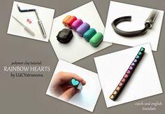 Tutorial by Lucy Struncova - Rainbow hearts cane