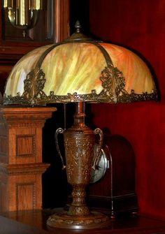 Beautiful Large Art Nouveau Vintage  Green Slag Glass Lamp