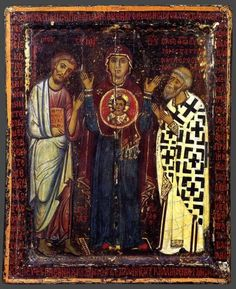 Icon from St. Catherine monastery in Sinai.  Our Lady and Child with Clement (?) and Origen (?)