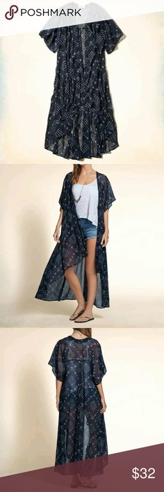 Nwt Hollister Point Vicente Chiffon Duster Point Vicente Chiffon Duster Kimono  Color: Navy?  Product Detail  Lightweight and supersoft chiffon Kimono, no closure style, beautiful drapey fit, maxi length, Easy Fit?  ????No Trade???? Hollister Other