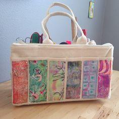 Made by Nicole: Gelli Printed Fabric Tool Tote Gelli Plate Printing, Printing On Fabric, Diy Tote Bag, Diy Bags, Artist Bag, Tool Tote, Painted Bags, Jute Bags, Purse Organization