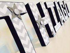 Chevron Letters Letters fabric letter by ArtTherapyStudio Fabric Covered Letters, Fabric Letters, 3d Letters, Letters And Numbers, Boy Nursery Letters, Chevron Letter, Paper Mache Letters, Baby Boy Nurseries, Nursery Decor