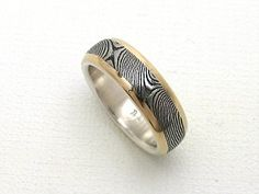 Stainless Damascus Ring in Sterling with Gold Rails