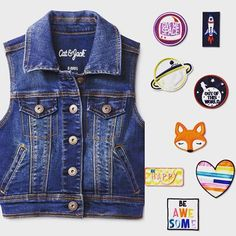 The 8️⃣0️⃣s called and they are making a comeback in @target's new kids clothing line Cat & Jack #patches #denimvest #jeanvest #kidswear