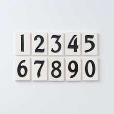 Asbury tile house numbers white on black ; Gardenista