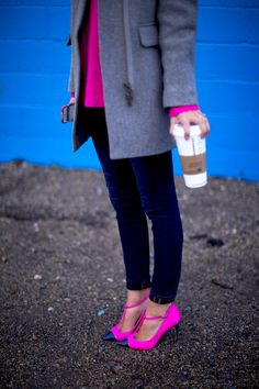 Very menswear-y yet added femininity with pop of color sweater and hot pink heels!