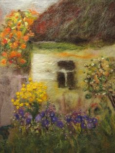 'In the warmth of September' - by Galina Lozovaya - (wool painting, fiber, textile art) Nuno Felting, Needle Felting, Felt Wall Hanging, Felt Pictures, Wool Art, Thread Painting, Felt Art, Felt Animals, Felt Flowers