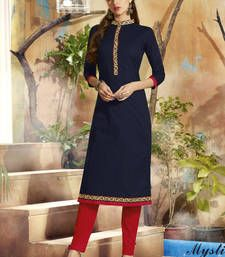 Buy Navy Blue Cotton embroidered kurti kurtas-and-kurti online