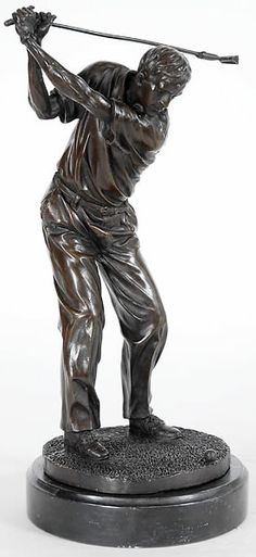 Marvelous Swinging Golfer Bronze Sculpture Statue Figurine In Bronze Available At  AllSculptures.com