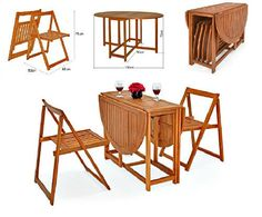 drop leaf wooden table folding chairs patio dining set garden furniture balcony