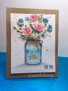 Image result for handmade cards with flower vases/ buttons pinterest