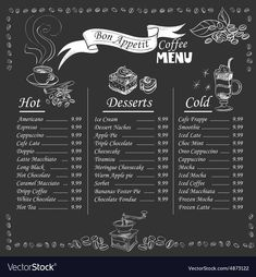 Illustration of Set of coffee menu with a cups of coffee drinks in vintage style stylized drawing with chalk on blackboard. Lettering Know your coffee. excellent vector illustration, EPS 10 vector art, clipart and stock vectors. Coffee Shop Menu, Coffee Shop Design, Coffee Drinks, Coffee Cups, Coffee Barista, Coffee Meme, Easy Coffee, Coffee Plant, Starbucks Coffee