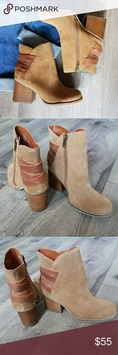 MIA suede booties New in box Heritage MIA suede (leather) booties. Super cute and stylish.  Side zipper and leather criss  cross design in the back.  Smoke free and pet free home. MIA Shoes Ankle Boots & Booties