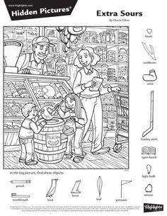 English Worksheets For Kids, Fun Worksheets, Craft Activities For Kids, Kindergarten Activities, Hidden Pictures Printables, Highlights Hidden Pictures, Hidden Picture Puzzles, Family Coloring Pages, Hidden Objects