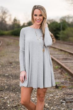 """""""Wine And Dine Dress, Heather Gray"""" 