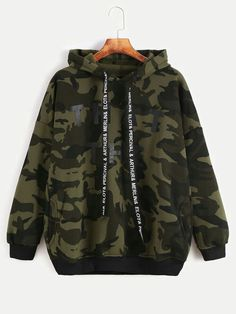 To find out about the Camo Letter Print Hooded Drop Shoulder Pockets Sweatshirt at SHEIN, part of our latest Sweatshirts ready to shop online today! Girls Fashion Clothes, Teen Fashion Outfits, Girl Outfits, Style Clothes, Stylish Hoodies, Cool Hoodies, Camo Outfits, Cute Casual Outfits, Damen Sweatshirts