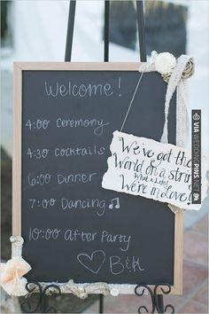 wedding itinerary sign | VIA #WEDDINGPINS.NET