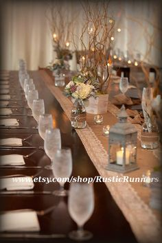 Rustic Wedding Burlap and Lace Table Runner by RusticRunners