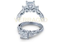 Diamond engagement ring by Verragio. Traditional three-diamond look combined with the stylish twist band: Insignia-7074P