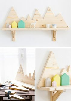 Explore DIY shelves that work for many spaces including kitchens, bedrooms and living rooms. Find ideas for floating wall shelves, corner shelves or stacking shelves that are simple to create - Kids Decor, Diy Home Decor, Diy Casa, Ideias Diy, Diy Holz, Diy Décoration, Diy Crafts, Home And Deco, Kid Spaces