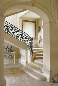 This Ivy House — Louis XVI-period wrought iron banister Wrought Iron Banister, Staircase Railings, Banisters, Stairways, Handrail Ideas, Marble Staircase, Stair Treads, Interior Stairs, Home Interior Design