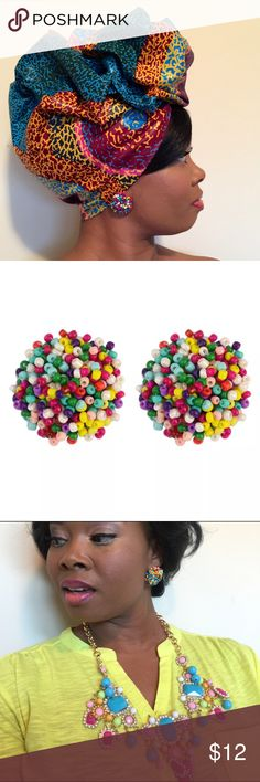 """""""Beaded Beauty"""" Colorful Round Stud Earrings These beauties are sure to become your go-to accessory. The are colorful and gorgeous. Wear these anytime anyplace. You are sure to get lots of compliments in these nickel free round studs. That add so much fun and versatility to any style preference. Crowned In Royalty  Jewelry Earrings"""