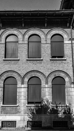 The Scuola Elementare, designed by Arnaldo Fuzzi in This building provides an example of repetition of architectural elements as decoration, both for windows and the fence. Repetition Examples, Architectural Elements, Atrium, Fence, Italy, Tours, Windows, Architecture, Decoration