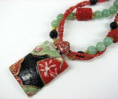 Asian inspired necklace Porcelain pendant by ShopPretties on Etsy, $115.00