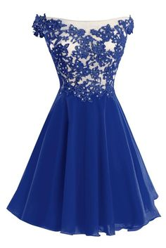 Bess Bridal Women´s Lace Straps Beaded Short Prom Gown Homecoming Party Dress Royal Blue