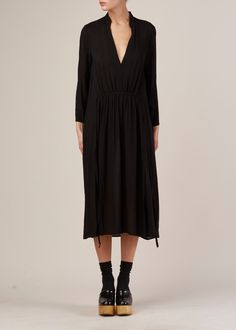 Raquel Allegra Shirred Waist Dress (Black)