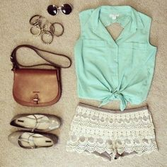 Summer outfit -- So cute! I love the subdued, earthy colors accented by that pop of mint green! The shorts are pretty short, but still -- want this!
