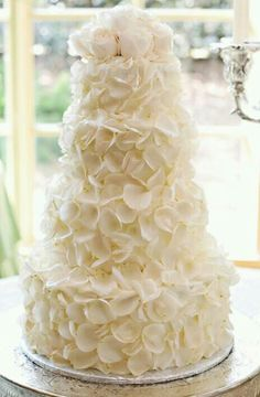 Beautiful elegant white wedding cake